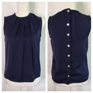 ZARA Basic Navy Blue Front pleats Blouse. Size S